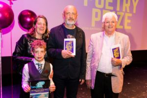 Finn Edmonds Winner of the Under 11s Category with his Mam and judges Alistair Robinson and Tom Kelly