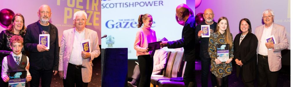 (left) Finn Edmonds and his mam with the judges; (centre) Bo Buglass accepts her certificate; (right) Lauren Aspery, the judges and Heather McDonald from The Scottish Power Foundation
